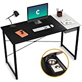 Cubiker Computer Desk 55' Home Office Writing Study Laptop Table, Modern Simple Style Desk with Drawer, Black White
