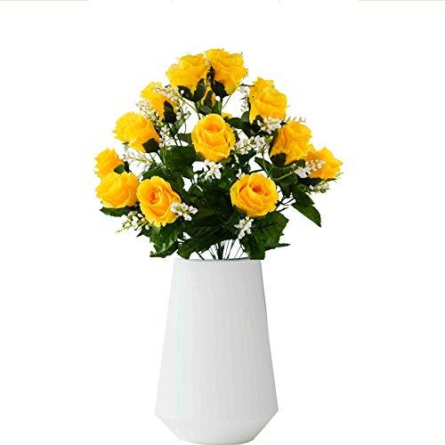 Rabbihom Fiore Artificiale Seta Rosa Falso Fiore Simulazione Bouquet Lungo Stelo Plastica Realistico...