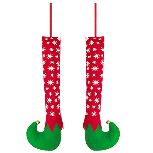 Christmas Elf Leg Ornaments 12 inch with Shoes Sticks and Bells Snowflake Plush Stuffed Elf Feet for Christmas Tree Topper Festive Xmas Decoration