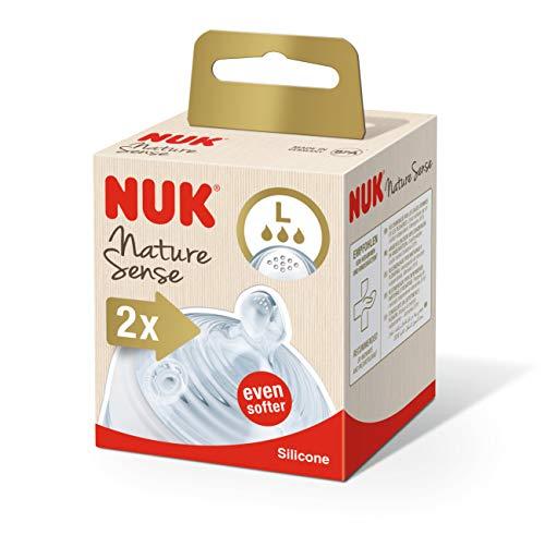 NUK Nature Sense Trinksauger, Silikon, BPA-frei, transparent, Größe L, 2 Stück, transparent