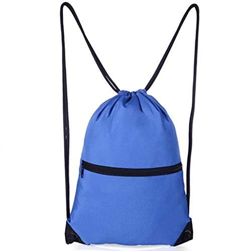 Blue Drawstring Backpack Bag Gym Bag for Men Women With Zipper Pocket