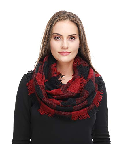 Lucky Leaf Women Autumn and Winter Check Pattern Cashmere Feel Warm Plaid Infinity Scarf (Black Red Plaid)