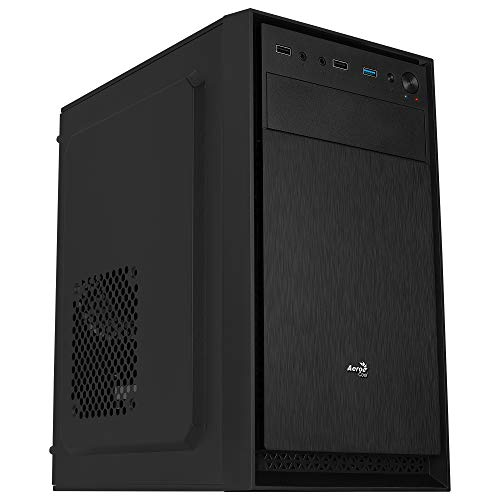 Aerocool CS104, Caja PC MicroATX Compacta, Aluminio Pulido, Ventilador 12cm, Negro