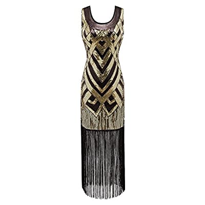Morovigo Women's 1920's Vintage Beads Sequin Crisscross Fringe Hem Flapper Dress