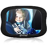 KidsPoint Auto Rücksitzspiegel Kinder, Bruchsicherer Premium Baby Autospiegel, Schwenkbarer Kinderspiegel mit großem Sichtfeld, Kfz Babyspiegel 28 x 20 x 24cm Universalgröße für alle Kopfstützen