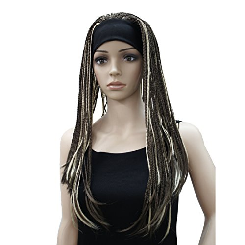 Lydell Braided Wig Afro Long Synthetic Fully Hand Tied Twist Braided Wigs 8TT26 Brown with Blonde Highlights