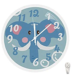 Modern Kids Wall Clock Silent Non-Ticking Battery Operated 12 Inch Easy to Read Colorful Cartoons Decorative Clock for Children's Room School Classroom Kindergarten (Blue, 12 Inch)