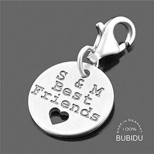 Charm Anhänger mit Gravur ❤️ Silberschmuck mit Namen ❤️ Freundschaft Geschenk Beste Freunde Schmuck kleiner Schlüsselanhänger 925 Silber | HANDMADE IN GERMANY