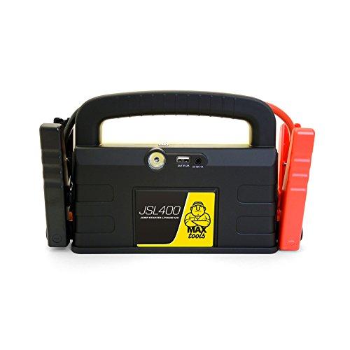 MAXTOOLS JSL400, Arrancador y Batería de Emergencia para Turismos y Furgonetas, 800A 18.000mAh, para Motores de 12V de Gasolina y Gasóleo, Jump Starter, Booster, con Linterna LED y Puerto USB