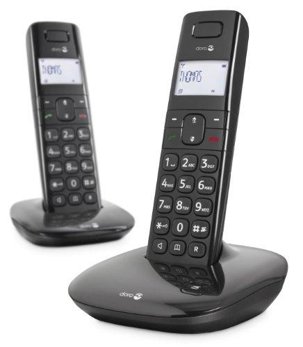 Doro Comfort 1010 Telefono Cordless DECT per Anziani con Tasti Grandi, Funzione Chiamata Interna e Compatibile con Apparecchi Acustici (X 2   Nero) [Versione Italiana]