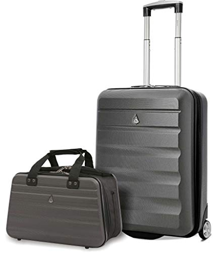 Aerolite Ryanair Maximum Size Set - 55x40x20 ABS 2 Wheel Cabin Suitcase + 40x20x25 Carry On Shoulder Flight Luggage Bag