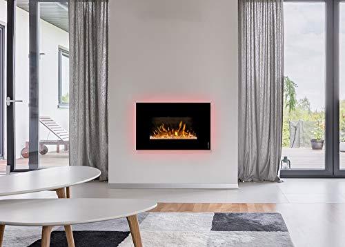 Elektrokamin Premium wodtke feel the flame® iVision black - wandhängend (LED-Hintergrundbeleuchtung, Knistermodul, Kiesel und Kristalle, max. 1,7 KW Heizleistung, Fernbedienung inkl.)