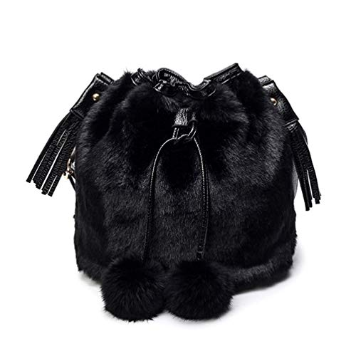 Material:Soft Faux Fur and high quality PU leather, durable polyester lining, fashionable and fluffy, Fine workmanship, glossy and smooth, make it more elegance. Safety and function:The bucket bag is designed with plush outside and drawstring, with l...