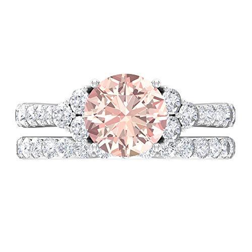 Lab Created Morganite - Anillo de novia (3,55 quilates, piedras preciosas redondas, solitario D-VSSI, 8 mm, anillo de boda, anillo de la catedral, 14K Oro blanco, Size:EU 67