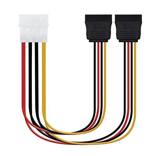 NANOCABLE 10.19.0101 - Cable SATA alimentación MOLEX a 2 SATA, 4pin/M-2xSATA/H, Macho-Hembra,...