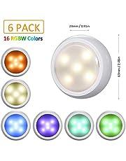 RGBキャビネットライト 階段ライト ナイトライト 4モード 4色変更 タイムセットでき リモコン付き 調光可能 省エネルギー 6個入れ テープ貼り付け型 屋内 led照明 小型 キャビネット玄関 階段 廊下 寝室 クローゼット ショーケースなどに最適