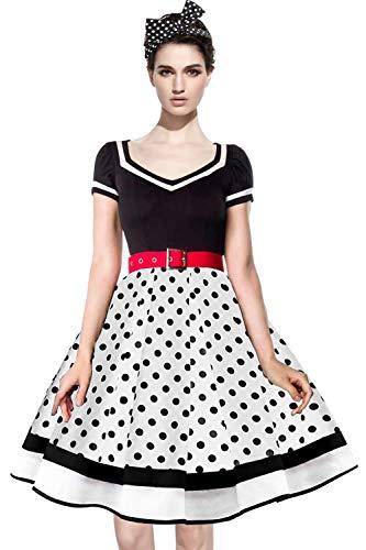 Axoe Damen 50er Jahre Kleider mit 1 Stück Stirnband Gepunktetes Cocktailkleid, Weiß/Schwarz, XXXL (46 EU)