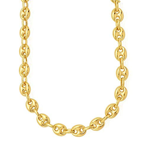 """14k REAL Yellow Gold 6.9mm Shiny Puffed SOLID Mariner Chain Necklace or Bracelet Bangle for Pendants and Charms with Lobster-Claw Clasp (7"""", 18"""", 20"""" or 24 inch)"""