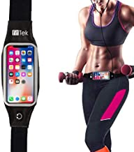 FIT TEK fitTek Runner Waist Pack Running Belts, Water Resistant Fanny Pack for iPhone Xs and All Phone Models, Screen Touch Phone Holder Running Pouch for Hands Free Workout, Fitness, Travel