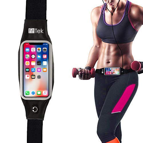 Running Belt Waist Pack, fitTek Workout Phone Holder for iPhone XS and All Phone Models, Screen Touch Fanny Pack Zippered Waterproof Phone Belt for Hands Free Running, Exercise, Workouts, Travel