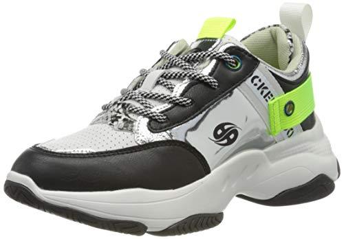 Dockers by Gerli Women's Low-Top Sneakers, Black Schwarz Hellgrau 121, 8.5
