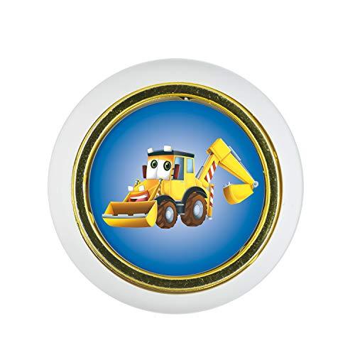 Möbelknopf Kunststoff Klein & Elegant KST03439W Weiss Auto Bus Bagger Eisenbahn Motiv - Kleine Universal Möbelknöpfe für Schrank, Schublade, Kommode, Tür, Küche, Bad, Haushalt Kinder Kinderzimmer