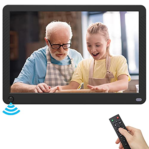 Digitaler Bilderrahmen 10 Zoll mit Bewegungssensor, Elektronischer Bilderrahmen 1920x1080 IPS Display für Foto/Musik/Video/Kalender, mit Fernbedienung,Unterstützt USB-und SD-Karte (128GB)