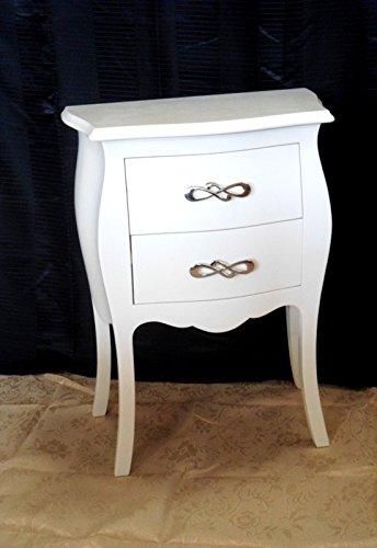 Petite commode blanche 2 tiroirs en bois massif, bombée et arrondie Laquée.