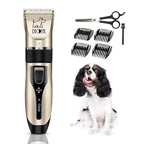 Decdeal Cortapelos para Mascotas Máquina Cortar Pelo Profesional Inalámbrico de Perros con Cargador USB Bajo Buido 5 Modos de Velocidad para Limpiar