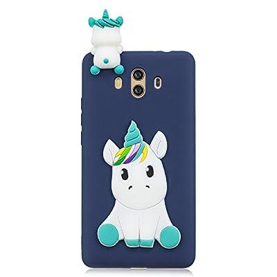 ChoosEU Funda Huawei Mate 10 Silicona 3D Dibujos Unicornio Panda Carcasas TPU Case Antigolpes Bumper Cover Protección Caso Flexible Gel - Azul