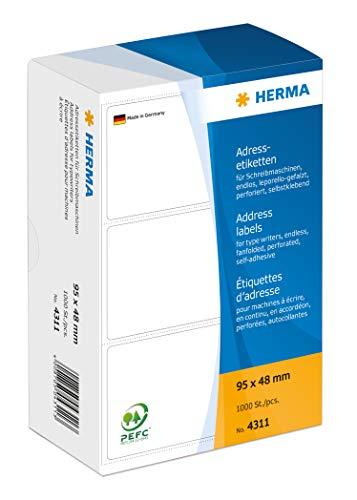 HERMA 4311 Adressaufkleber für Schreibmaschinen, endlos (95 x 48 mm, Papier, matt, leporello-gefalzt) selbstklebend, permanent haftende Adressetiketten, 1.000 Klebeetiketten, weiß