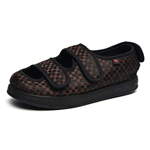 CYN Zapatos para diabéticos Edema para Mujer, Zapatillas diabéticas para Hombre Edem Zapatos con Cierres Ajustables Extra Ancho Terrific para Elfry Hinchado Pies Suave y cómoda Suela-marrón_44EU