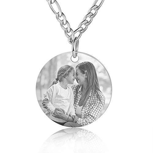 Grand Made Colgante de Collar de Foto Personalizado Conjuntos de Pulsera de Foto/Texto Personalizados con Flor de cumpleaños, Collar Personalizado de 6 Nombres para la Familia