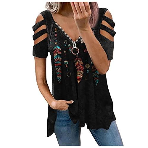 Bilbull Camiseta de verano para mujer, cuello en V, cierre de cremallera, manga corta, suelta. Negro M