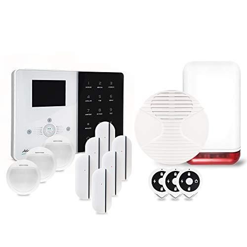 Atlantic's – Allarme casa senza fili IP IPEOS Kit 5 sirena Full Wireless MD-329R – Pacchetto allarme WiFi, partricatura a distanza bianco e nero