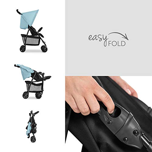Hauck Sport Silla de paseo ligera y practica para bebes de 0 meses hasta 15 kg, sistema de arnés de 5 puntos, respaldo reclinable, plegable, Azul (Moonlight Capri)