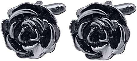 BO LAI DE Men's Cufflinks Black Rose Three-Dimensional Metal Cuff Links Shirt Cufflinks Suitable for Wedding Business Luxury Tuxedo Formal Shirts, with Gift Box