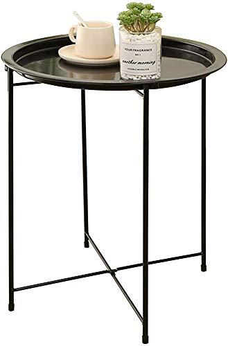 Mesa auxiliar, mesa de café de la bandeja de sofá, mesa lateral de espacio pequeño, mesa de café pequeña, mesa de noche, café postre portátil, sala de estar Balcón y oficina,Black