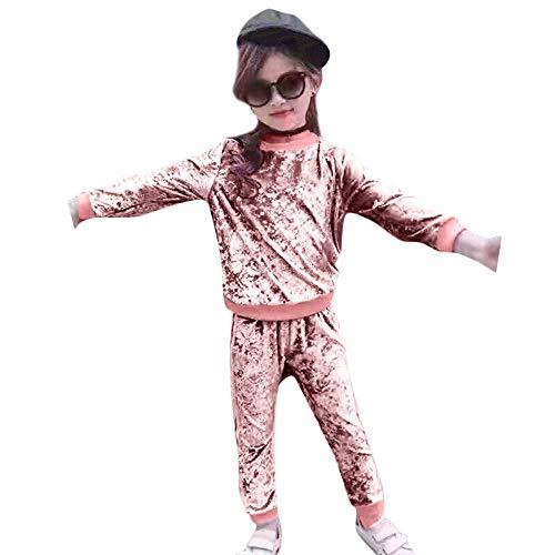 MRULIC MRULIC Mädchen Weihnachten Pyjamas Tägliche Babysuit Overall Winter Baby Strampler Zweiteiliger Schlafanzug mit Oberteil Anzug (A-Rosa,115-120CM)