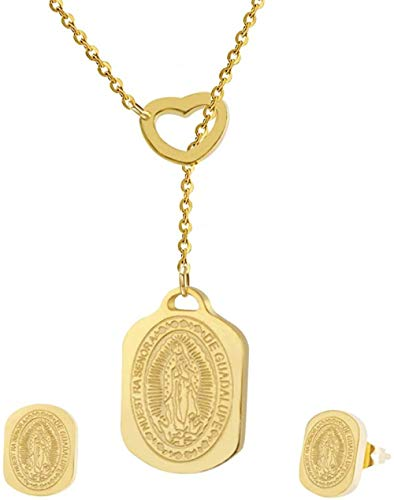 PPQKKYD Necklace Virgin Mary Necklace and Earring Set Stainless Steel Religious Jewelry Set, Ladies Party Jewelry