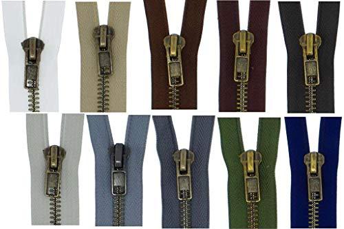 FIM Reißverschluss Metall Grob Nr. 8 Brüniert Teilbar für Lederjacken usw. Farbe: 1 - schwarz (322), 70cm lang