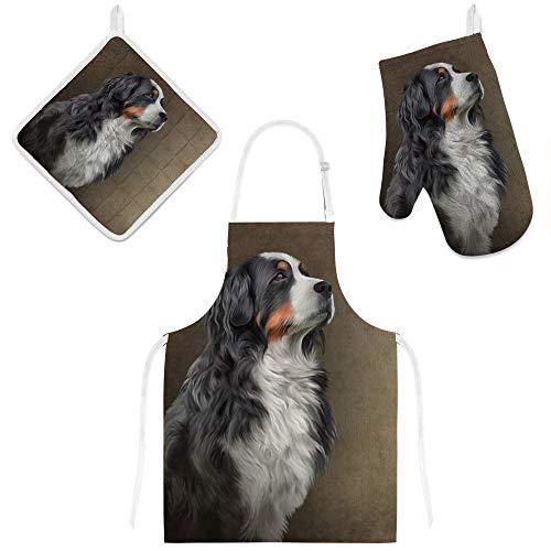 My Daily Kochschürze mit Taschen, Ofenhandschuh und Topflappen Set, Berner Sennenhund, verstellbare Schürze, Mikrowellen-Handschuh, Topflappen, 3-teiliges Küchengeschenk-Set