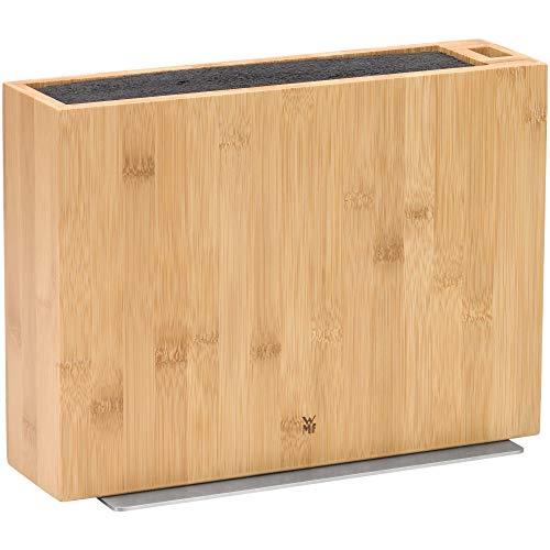 WMF messenblok zonder mes, zonder inhoud, leeg, hout, bamboe, voor 5-6 messen, met kunststof borstelinzet, schaaropslag