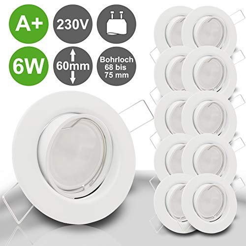 LIMITIERTE AKTION Decken Einbaustrahler DECORA 230V GU10 10er Set inkl. SMD LED 6W = 60W Warmweiss 450 Lumen schwenkbar WEISS Einbauspot Spot Leuchtmittel austauschbar