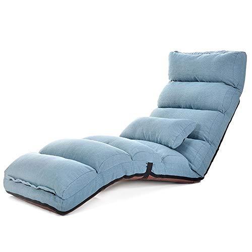 AWYJ Hogar Sillón Relax Silla Silla de salón del Piso con Respaldo Ajustable for la Oficina de la Sala de Estar Inicio Sala de Estar (Color : Blue, Size : 175x56x20cm)