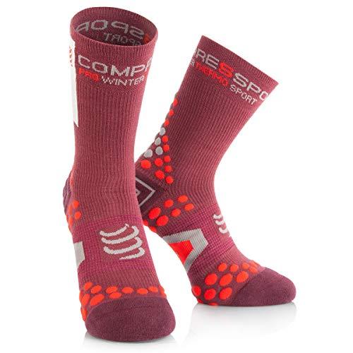 COMPRESSPORT - Pro Racing Socks V2.1 Winter Bike, Color Marrã³n, Talla EU 34-36