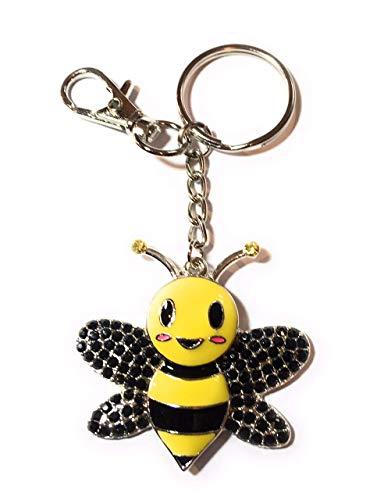 FizzyButton Gifts - Silberne Tonart Bienen-Form Nudelring mit Strassstein und Emaille-Detail