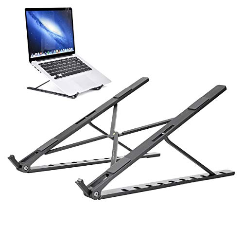 Tyhbelle Aluminium Laptop Ständer, Upgraded Version 10 Gangeinstellung Multi-Winkel Verstellbar, Höhe Einstellbar, Faltbar Aluminium Tablet Halterung für 10-17 Zoll Notebook/iPad Air/Mini/MacBook