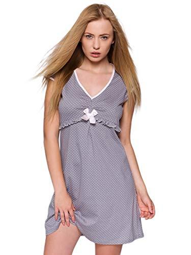 SENSIS edles und hochwertiges Nachthemd Sleepshirt in ausgefallenem Design - Made in EU (M (38), gepunktet mit Rüschen)
