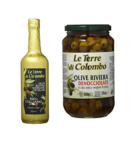 Le Terre di Colombo Aceite de Oliva Virgen Extra 100% Italiano, Botella envuelta en Papel Dorado, 0.75 L + Riviera sin Hueso en Aceite de Oliva Virgen Extra 36 %, 500 G